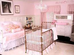 endearing girl baby nursery room decoration using dark brown wrought iron baby cribs including flare light pink baby bed valance and light pink baby room bedroom endearing rod iron