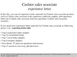 Cashier sales associate experience letter