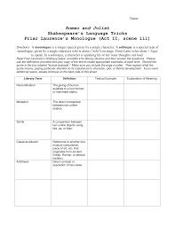 friar laurence language trick handout