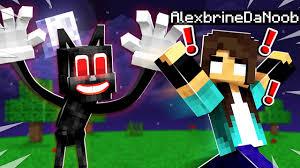 noob Girl's ONE NIGHT with <b>CARTOON</b> CAT in <b>Minecraft</b>! - YouTube