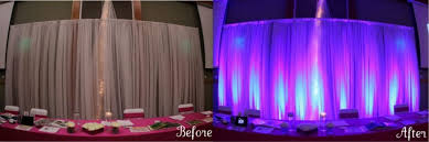 a popular choice for brides and grooms is to uplight the head table not only do uplights draw attention and make the head table a nice focal point for your beautiful color table uplighting