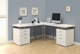 desk alluring computer desks white l shape wood construction gray finish metal frame double 3 drawer alluring small home corner