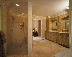 in this award winning master bathroom a curved block wall separates the walk in bathroom walk shower