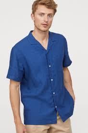 <b>Льняная рубашка</b> - Темно-синий - | H&M RU