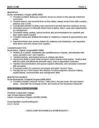 job description of a waitress for a resume writing resume sample waiter resume examples