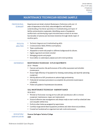 maintenance technician resume samples templates and tips online maintenance technician resume