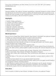professional pediatric occupational therapist templates to    resume templates  pediatric occupational therapist