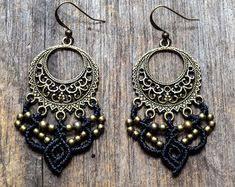 Micro Macrame Earrings 'ANANDA', <b>Bohemian</b> Woven Brass ...
