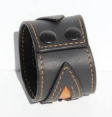 Black Leather Cuff Bracelet Orange Leather Wristband Bikers ...