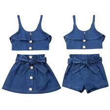 <b>Summer Toddler Kids</b> Girl Clothes Sets <b>1 6Y</b> Denim Blue Strap Tops ...