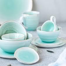 <b>Чашка</b> 250 мл с блюдцем <b>Easy Life Artesanal</b> цвет - зелёно-голубой