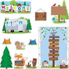 woodland friends welcome bulletin board set bulletin board