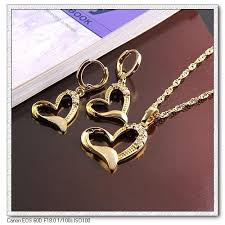 S14K-1914k Gold Plated Heart Shape Jewelry Sets, Jewelry Sets ...