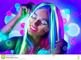 <b>Young Woman</b> Dancing In Neon <b>Light</b> Stock Image - Image of bright ...