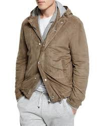 N40KT Brunello Cucinelli Suede <b>Hooded</b> Shirt <b>Jacket</b>, Taupe ...