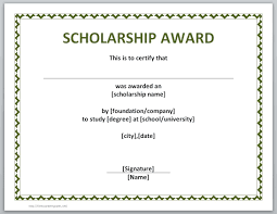 certificate templates for word microsoft and open office scholarship award certificate template