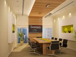 plywood decor office wall decor ideas brown plywood meeting table office chairs pendant lamp recessed lamp screen