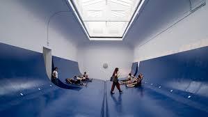 Serbian Pavilion <b>models</b> interior on the bright blue hull of a boat