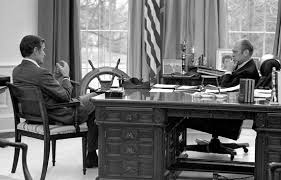 us central intelligence agency director designate george bush meeting with pres gerald ford in bush library oval office