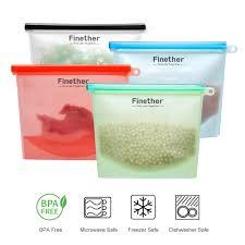4-Pack Reusable <b>Silicone</b> Plastic <b>Food Storage Bag</b> Sealer Fresh ...