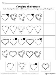 Kindergarten Patterns Printable Worksheets | MyTeachingStation.comCut and Glue to Complete the Heart Pattern