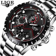 <b>LIGE Mens Watches</b> Fashion <b>Sport</b> Quartz <b>Watch Men</b> All Steel ...