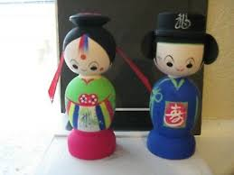 Pair Korean Wedding Dolls Hand Painted <b>Wooden Bride</b> & <b>Groom</b> ...