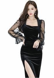 Buy Crystal <b>Korea</b> Fashion <b>Korean</b>-made velvet black <b>mid</b>-<b>length</b> ...