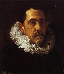 """... el retrato de Francisco Pacheco, de Diego Velázquez, o el retrato de """"Mujer con paloma"""" de Caravaggio. - velazquez-francisco-pacheco-1619-1622"""
