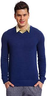 Copperside <b>Mens 100</b>% <b>Cotton Knitted</b> Long Sleeves V-Neck ...