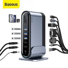 <b>Baseus 11 in 1</b> Multi USB C <b>HUB</b> to HDMI VGA USB 3.0 RJ45 3.5mm
