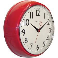 Red Retro Kitchen Accessories Amazoncom Westclox 32042r Retro 1950 Kitchen Wall Clock 95