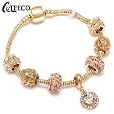 <b>CUTEECO</b> New Style Royal <b>Crystal</b> Crown Charm <b>Bracelet</b> Fit Gold ...