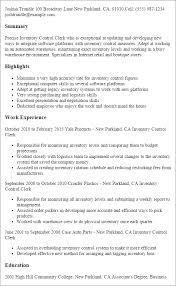 professional inventory control clerk templates to showcase your    resume templates  inventory control clerk