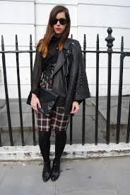 Two Shoes One Pair April 2013. Topshop Bralet Primark Tartan Ruched Skirt Topshop Studded Aggro Boots Primark Sunglasses Primark Black Clutch Topshop Corset Waist Belt
