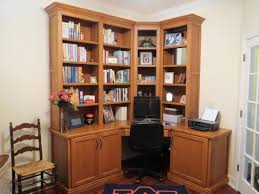 custom designed and built corner home office desk with cabinets and bookcase shelves in solid walnut attractive office furniture corner desk