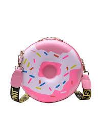 Two Size Cute Donuts Design <b>Letter</b> Belt <b>Round Shoulder Bag</b>