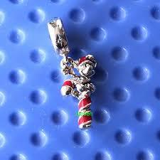 925 Sterling Silver Disney <b>Santa</b> Mickey's Candy Cane Dangle ...
