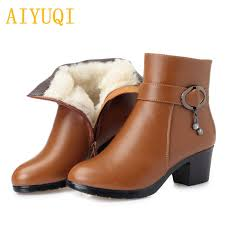 <b>AIYUQI 2019 new genuine</b> leather ladies short winter boots, wool ...
