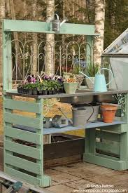 storage bench ideas hdts patio seating diy garden potting table using pallets amp old sink romppala lindan pi