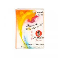 <b>Maneki Платочки бумажные Sumi</b>-<b>e</b>, с ароматом фруктов, 10х10 шт