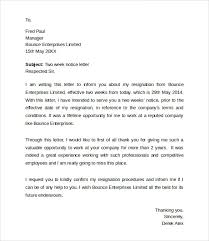 two weeks notice letters amp amp resignation letter templates   resignation examples employee resignation letter 2 weeks