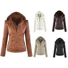 <b>Women's</b> Fashion <b>Long</b>-<b>sleeved Zipper Leather</b> Large Size Jacket ...