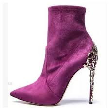 Spring <b>Autumn Women</b> Suede Ankle Boots Metallic High Heels ...