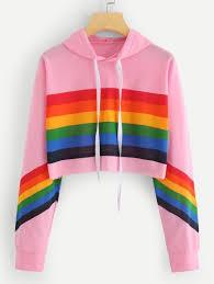 <b>Rainbow Striped</b> Print <b>Crop</b> HoodieFor Women-romwe in 2020 ...