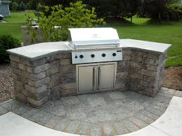Prefab Outdoor Kitchen Island Curved Stone Prefab Kitchen Island With Gray Concrete Countertop