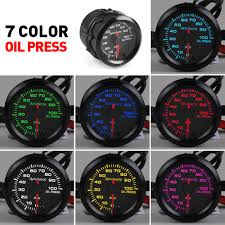 "<b>Dynoracing 2</b>"" <b>52mm</b> 7 Colors LED Car Oil Pressure Gauge 0 ..."