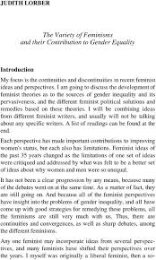 the variety of feminisms and their contribution to gender equality theories i will be combining ideas from different feminist writers and usually will not