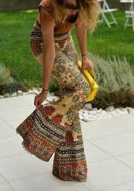 <b>Yellow</b> Tribal Print <b>Elegant Party</b> Flare Bell Bottom Long Pants ...