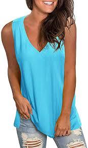 <b>Women Sleeveless V-Neck</b> T-Shirt Tops, Summer Loose Solid Tank ...